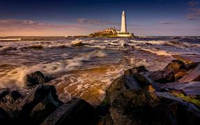 Картинка море, волны, пейзаж, закат, природа, камни, маяк, прибой