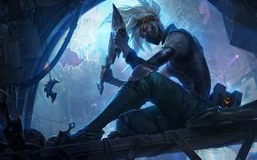 Картинка взгляд, девушка, лезвие, нож, art, Akali, League of Legends, Rogue Assassin