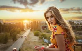 Обои взгляд, закат, портрет, руки, блондинка, длинные волосы, маникюр, Варвара, Александр Астахов