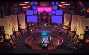 Картинка Concept Art, Science Fiction, Cyberpunk, Game Art, Lobby, by Luke Viljoen, Luke Viljoen, Hero Grinder, …