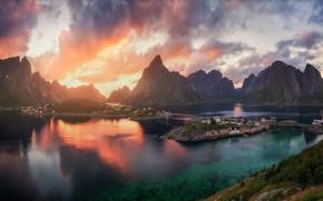Картинка свет, горы, фьорд, поселок, Норвегия