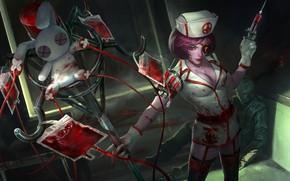 Картинка грудь, кровь, кролик, костюм, медсестра, шприц, art, Heroes of Newerth, Voodoo Jester, Painkiller