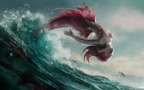 Обои волны, рыбы, брызги, прыжок, русалка, чешуя, хвост, плавники, морская пена, розовые волосы, mermaid