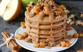 Картинка яблоко, мёд, корица, десерт, выпечка, оладьи