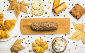 Картинка осень, листья, фон, дерево, colorful, хлеб, wood, выпечка, background, autumn, leaves, осенние, maple