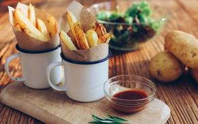 Картинка соус, картошка, розмарин, картофель, картошка фри