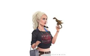 Картинка Минимализм, Дракон, Блондинка, Girl, Fantasy, Драконы, Game of Thrones, Игра престолов, Daenerys Targaryen, Дейенерис Таргариен, …