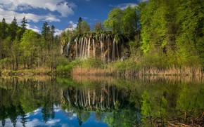 Картинка небо, трава, озеро, водопад