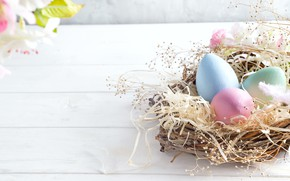 Картинка цветы, Пасха, корзинка, Easter, Eggs