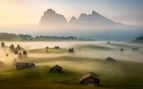 Картинка поле, туман, утро, деревня, Альпы, домики