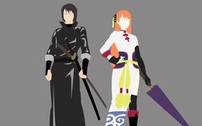 Картинка девушка, минимализм, парень, Gintama, Гинтама