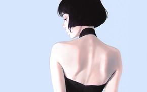 Картинка стрижка, декольте, черное платье, голубой фон, в профиль, портрет девушки, со спины, Кувшинов Илья
