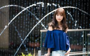 Картинка девушка, фонтан, азиатка, милашка