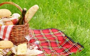 Картинка зелень, трава, вино, корзина, поляна, яблоки, бутылка, сыр, бокалы, хлеб, фрукты, пикник, скатерть, боке, бутерброды, …