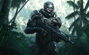 Картинка Солдат, Оружие, Джунгли, Electronic Arts, Remastered, Нанокостюм, Crysis: Remastered