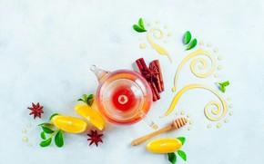 Обои листья, узор, лимон, чай, еда, напиток, натюрморт, мёд, корица, ваниль, Чай