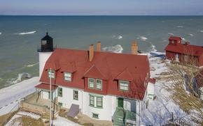 Картинка море, снег, маяк, Дом