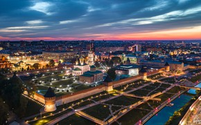 Картинка город, здания, дома, вечер, освещение, Кремль, Тула, Илья Гарбузов