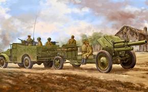 Картинка Артиллерия, Гаубица, Красная Армия, Бронетранспортёр, 122-мм, М-30, М3А1
