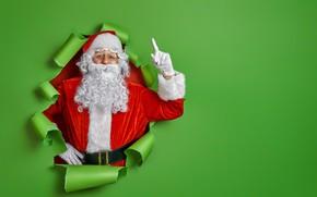 Картинка Новый год, борода, Санта Клаус, цветной фон