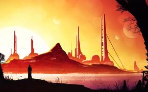 Картинка птицы, планеты, человек, сооружения, Calm Sunset