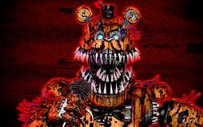 Картинка фон, игра, кукла, арт, пасть, клыки, Five Nights at Freddy's, Пять ночей у Фредди