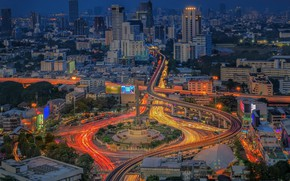 Картинка дорога, ночь, город, Таиланд, ярко, Бангкок, Thailand, Bangkok