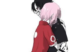 Картинка Naruto, Uchiha Sasuke, Haruno Sakura, Fanart, Pixiv, Fanart From Pixiv, Scene Reference
