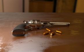 Картинка рендеринг, пистолет, оружие, стол, патроны, компьютерная графика