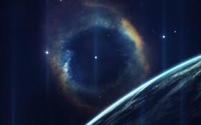 Картинка Звезды, Планета, Космос, Туманность, Horizon, Арт, Stars, Space, Блик, Art, Planet, Nebula, Cosmos, Glare, Vadim …