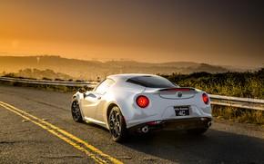 Картинка небо, Закат, Дорога, Город, Белая, Alfa Romeo, Alfa, Romeo, Альфа Ромео, Alfa Romeo 4c