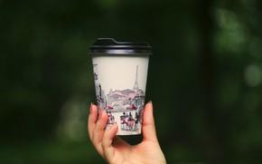 Картинка кофе, рука, стаканчик, coffee, arm, горячий кофе, a glass, hot coffee