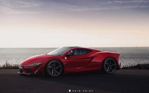 Картинка Красный, Океан, Море, Авто, Машина, Побережье, Supra, Toyota Supra, Concept Art, Rain Prisk, by Rain ...