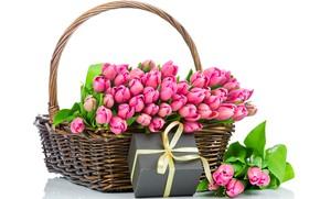 Картинка подарок, корзина, весна, тюльпаны, розовые, 8 марта, красивые