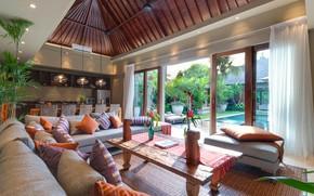 Картинка интерьер, бассейн, кухня, терраса, гостиная, столовая, Bali, villa Eshara III