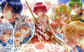 Обои цветок, девушка, драконы, аниме, лук, арт, стрела, парни, персонажи, Рассвет Йоны, Akatsuki no Yona