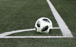Обои поле, футбол, мяч, разметка
