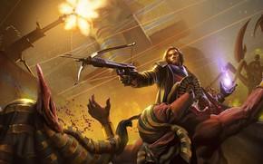 Картинка воин, монстры, мужчина, скорпион, арбалет, Project Warlock