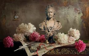 Картинка цветы, бумага, перо, часы, листы, скульптура, бюст, пионы, Андрей Морозов