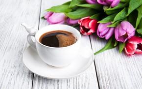Картинка белый, стол, фон, кофе, букет, чашка, тюльпаны, Olena Rudo