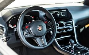 Картинка чёрный, тюнинг, купе, BMW, руль, Manhart, 2020, BMW M8, 4.4 л., двухдверное, V8 Biturbo, M8, …