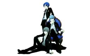 Картинка белый фон, парни, Persona 5, Персона 5