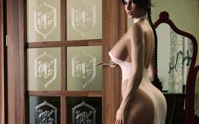 Обои грудь, взгляд, девушка, рендеринг, тело, платье, сиськи, задница, lara croft, tomb raider