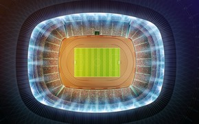 Обои футбол, минимализм, вид сверху, stadium, стадион, football, футбольное поле, aerial view, soccer field, Оле-оле-оле-оле, вид ...