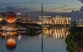Картинка ночь, воздушный шар, Putrajaya