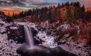 Картинка лес, пейзаж, закат, природа, водопад, вечер, Вашингтон, США, Сноквалми