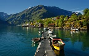 Картинка лодки, Норвегия, пирс, Arnafjord