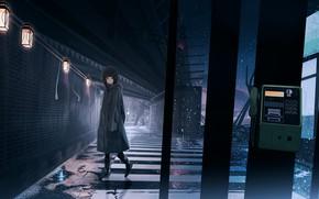 Картинка девушка, дождь, улица, телефонная будка, дорОга