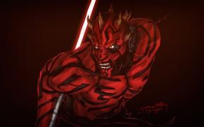 Картинка Рисунок, Star Wars, Dark, Меч, Darth Maul, Dark Side, Арт, Дарт Мол, Jason Z, by …