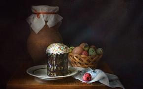 Картинка праздник, яйцо, Пасха, посуда, кувшин, натюрморт, кулич